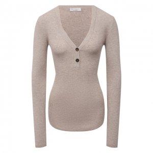 Пуловер из кашемира и вискозы Brunello Cucinelli. Цвет: бежевый