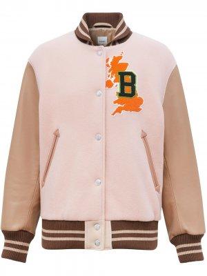 Куртка-бомбер с графичным принтом Burberry. Цвет: розовый