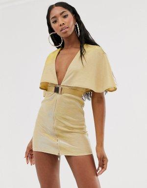 Золотистое платье мини с глубоким вырезом, ремнем и кейпом -Золотой Rare
