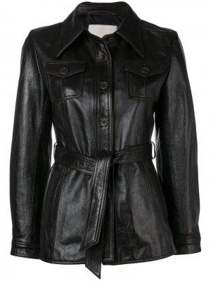 Кожаная куртка 3.1 Phillip Lim. Цвет: коричневый