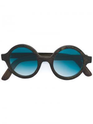 Солнцезащитные очки в круглой оправе Slave To Ancestors. Цвет: черный