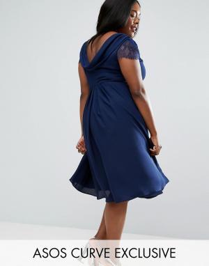 ca69e368903 Черное кружевное платье миди со свободным воротом ASOS CURVE Kate. Цвет   темно-синий
