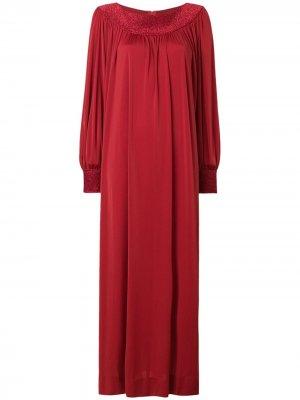 Платье со сборками с длинным рукавом LANVIN Pre-Owned. Цвет: красный