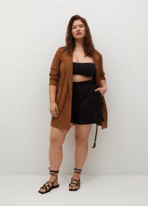 Кожаная куртка с лацканами - Paty8 Mango. Цвет: коричневый средний