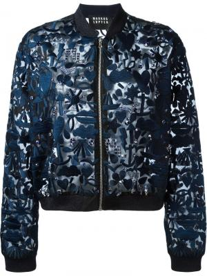 Куртка-бомбер с вышивкой Markus Lupfer. Цвет: синий