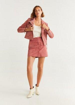Кожаная куртка с бахромой - Pinkie Mango. Цвет: розовый