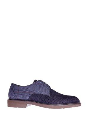 Туфли-дерби из замши и кожи с узором «Принц Уэльский» MORESCHI. Цвет: синий