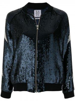 Куртка-бомбер со слоганом и пайетками Zoe Karssen. Цвет: синий
