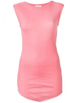 Удлиненная асимметричная майка Jucca. Цвет: розовый и фиолетовый