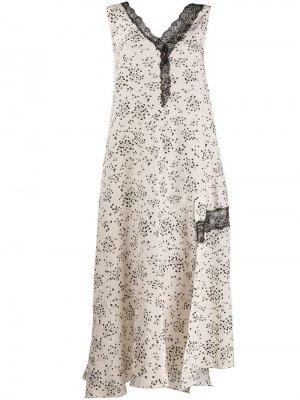 Платье с цветочным принтом Alysi. Цвет: бежевый