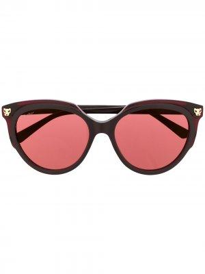 Солнцезащитные очки Panthere в оправе кошачий глаз Cartier. Цвет: красный