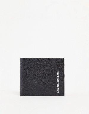 Черный кожаный складной бумажник с логотипом -Черный цвет Calvin Klein Jeans