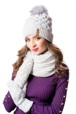 Комплект: шапка, снуд, варежки JAGGA. Цвет: светло-серый