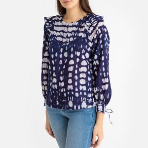 Блузка с круглым вырезом разрезом спереди и рисунком тай-энд-дай ATLAS BLOUSE ANTIK BATIK. Цвет: темно-синий
