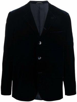 Velvet-effect buttoned-up blazer Giorgio Armani. Цвет: синий