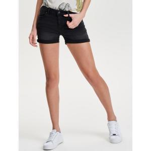Шорты джинсовые с отворотом ONLY. Цвет: черный
