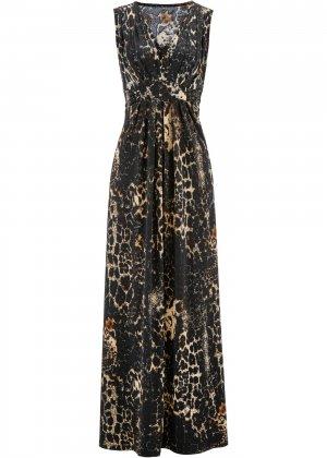 Платье с принтом bonprix. Цвет: корич-невый