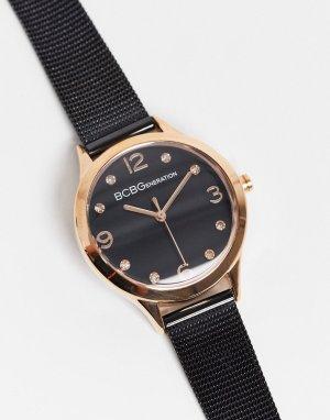 Часы с сетчатым ремешком BCBG Generation-Черный цвет MaxAzria