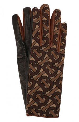 Кожаные перчатки Burberry. Цвет: коричневый