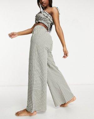 Широкие пляжные брюки цвета хаки в клетку, с завышенной талией, от комплекта Exclusive-Зеленый цвет Fashion Union