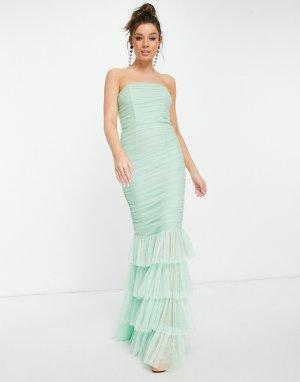 Мятное ярусное платье макси с юбкой-годе -Зеленый цвет Forever U