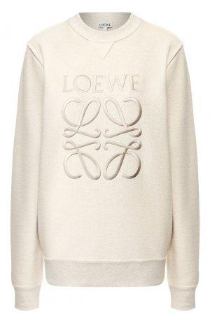 Хлопковый свитшот Loewe. Цвет: кремовый