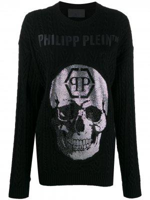 Пуловер с декором Skull и кристаллами Philipp Plein