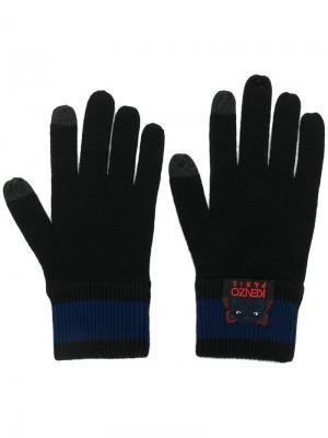 Перчатки с вышитым логотипом Kenzo. Цвет: черный