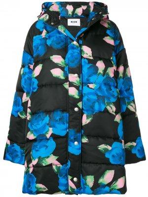 Длинная утепленная куртка с цветочным принтом MSGM. Цвет: черный