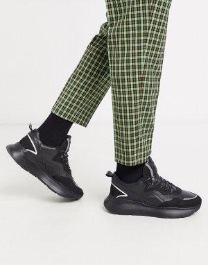 Черные кожаные кроссовки на массивной подошве grayson-Черный Bronx