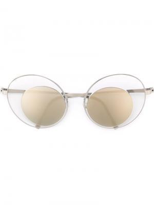 Солнцезащитные очки в круглой оправе Lindberg. Цвет: металлический