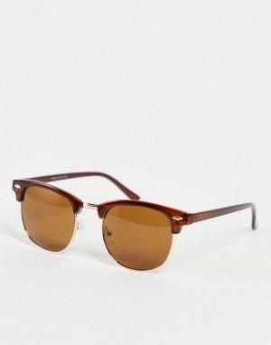 Коричневые солнцезащитные очки в коричневой оправе стиле ретро с черепаховым принтом -Коричневый цвет Only & Sons