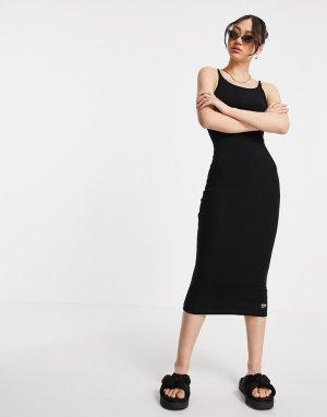 Черное узкое платье миди в рубчик -Черный цвет Dr Denim
