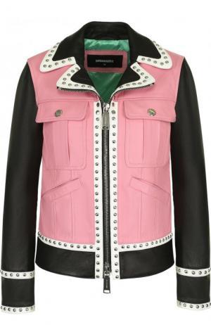 Кожаная куртка на молнии с отложным воротником Dsquared2. Цвет: розовый