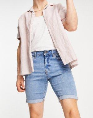 Светло-голубые узкие джинсовые шорты -Голубой New Look