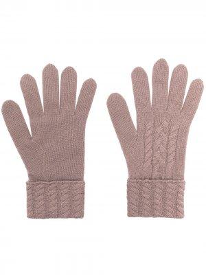 Перчатки из органического кашемира фактурной вязки N.Peal. Цвет: коричневый