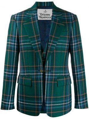 Однобортный пиджак в клетку Vivienne Westwood. Цвет: зеленый