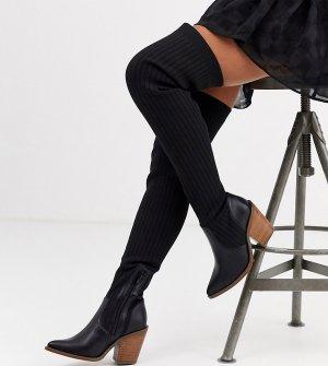 Черные сапоги-ботфорты в ковбойском стиле -Черный ASOS DESIGN