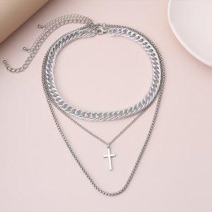 Мужское ожерелье 3шт SHEIN. Цвет: серебряные