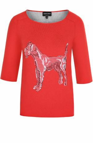 Кашемировый пуловер с принтом и укороченным рукавом Giorgio Armani. Цвет: красный
