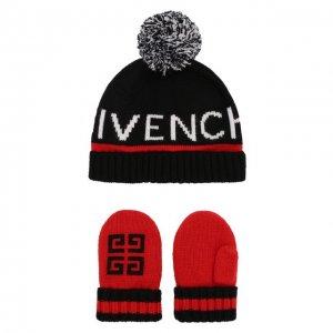 Комплект из шапки и варежек Givenchy. Цвет: разноцветный