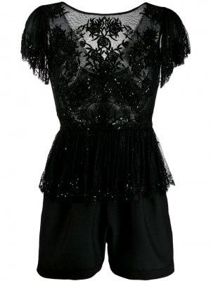 Кружевной комбинезон ANIYE BY. Цвет: черный