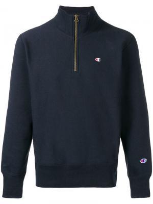 Пуловер с воротником на молнии Champion. Цвет: синий