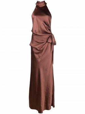 Драпированное платье с вырезом халтер CAMILLA AND MARC. Цвет: коричневый