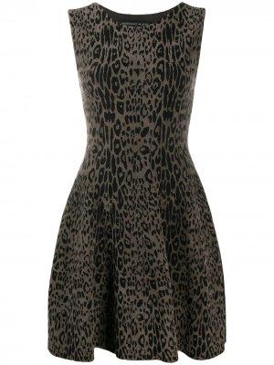 Платье мини с леопардовым узором Antonino Valenti. Цвет: черный