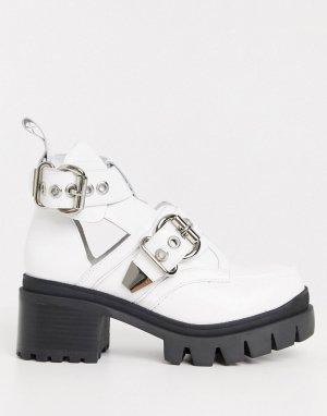 Белые ботинки на массивной подошве с пряжками -Белый Jeffrey Campbell