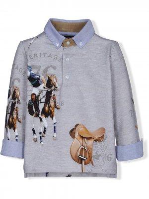 Graphic-print polo shirt Lapin House. Цвет: синий