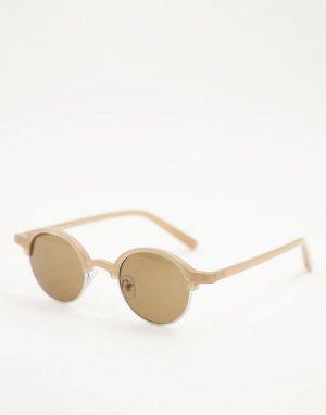 Круглые солнцезащитные очки бежевого цвета в стиле ретро унисекс -Светло-бежевый цвет AJ Morgan