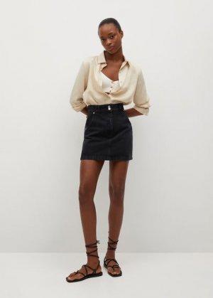 Джинсовая мини-юбка с карманами - Marion Mango. Цвет: черный деним