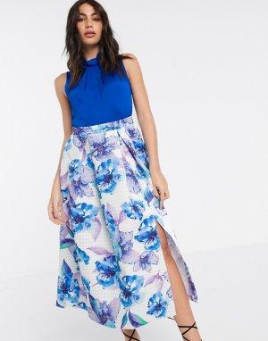 Платье с принтом на юбке -Мульти Closet London